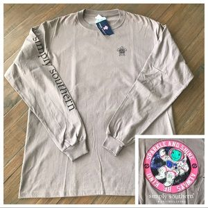 Simply Southern L long sleeve turtle astronaut top